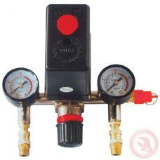 Прессостат в сборе прессостат редуктор 2 манометра предохранительный клапан два выхода Intertool PT-9094