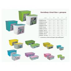 Контейнер для хранения Smart Box с декором Pet Shop 27 л (бирюзовый/бирюзовый/розовый) Алеана 124048