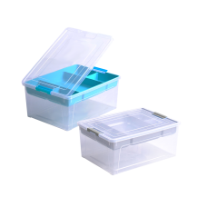 Контейнер для хранения Smart Box с органайзером 3,8 л (прозрачный/бирюзовый/бирюзовый) Алеана 123091
