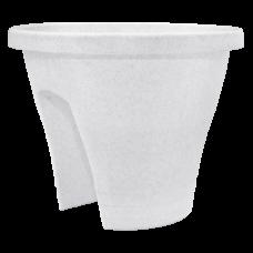 Вазон Женева с креплением на перила 2*23,5 см 6 л (белый флок) Алеана 114019