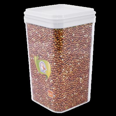 Емкость для сыпучих продуктов 1,3 л (прозрачный/белый) Алеана 168025