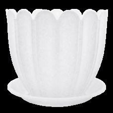 Вазон c подставкой «Марго» 16*14 см 1,6 л (белый флок) Алеана 112076