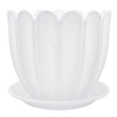 Вазон c подставкой «Марго» 20*18 см 3,4 л (белый флок) Алеана 112074