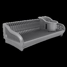 Лоток для столовых приборов с вставкой (серый/белый флок) Алеана 167402