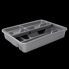 Лоток для столовых приборов с вставкой (серый/серый флок) Алеана 167402