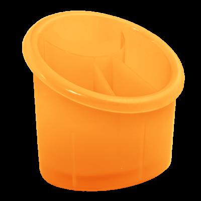 Подставка для столовых приборов овальная (оранжевый прозрачный) Алеана 167094