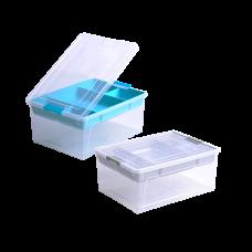 Контейнер для хранения Smart Box с органайзером 1,7 л (прозрачный/бирюзовый) Алеана 123089