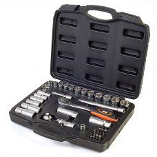 Набор насадок торцевых CRV с трещоткой 3/8'', 39 предметов в кейсе Миол 58-185