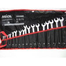 Набор ключей рожково-накидных CRV сатин 17 предметов Миол 51-716