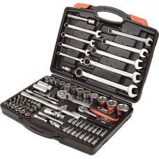 Набор торцевых насадок с трещетками 1/4'', 1/2'' и ключами, 82 предмета в кейсе Miol 58-130