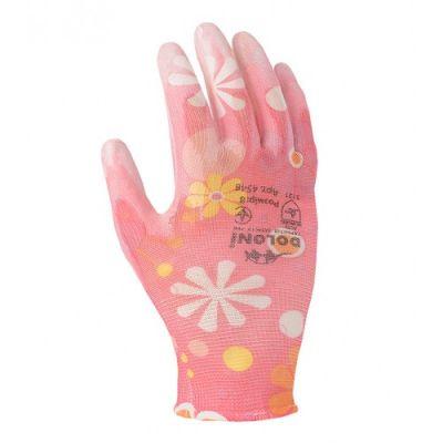 Перчатки розовые нейлон полиуретан неполный гладкий облив Doloni 4548