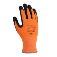 Перчатки Fluo оранжевые с латексным покрытием, неполный облив,  Doloni 4556