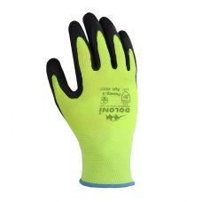 Перчатки Fluo зеленые с латексным покрытием, неполный облив,  Doloni 4557