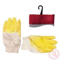 Перчатка стекольщика тканевая покрытая рифленым латексом на ладони желтая Intertool SP-0002W