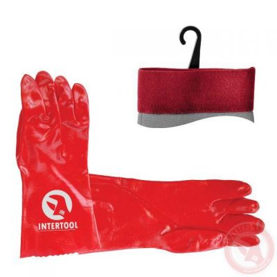 Перчатка маслостойкая х/б трикотаж покрытая PVC, 35см красная Intertool SP-0007W