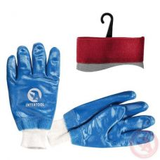 """Перчатка трикотаж покрытая нитрилом c вязаным манжетом 10.5"""" синяя  Intertool SP-0137W"""