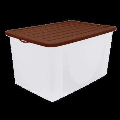 Емкость для хранения вещей с крышкой 22 л (тёмно-коричневый) Алеана 122042