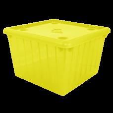 Емкость для хранения вещей с крышкой 25 л (жёлтый прозрачный) Алеана 122043