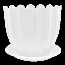 Вазон c подставкой «Марго» 14*12 см 1,1 л (белый) Алеана 112077