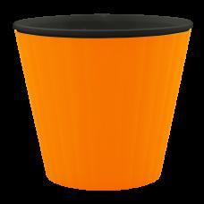 Вазон «Ибис» с двойным дном 13*11,2 см 1 л (светло-оранжевый/черный) Алеана 114032