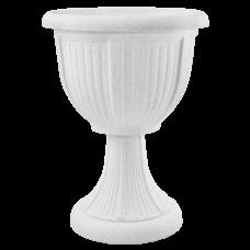 Вазон с подставкой «Леон» (глубокий) 30,5*41 см 6 л (белый флок) Алеана 114008