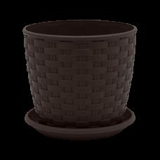 "Вазон ""Ротанг"" с поливом 24*22 см 7,6 л (тёмно-коричневый) Алеана 114026"