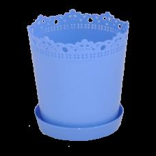 """Вазон """"Ришелье"""" с подставкой 13*13,5 см 0,9 л (голубой) Алеана 115002"""
