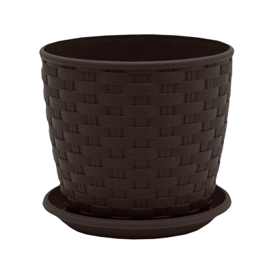 "Вазон ""Ротанг"" с поливом 12*11 см 0,9 л (тёмно-коричневый) Алеана 114023"