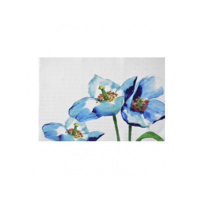 Коврик сервировочный под столовые приборы, 30х45 см, голубые цветы, ТМ МД