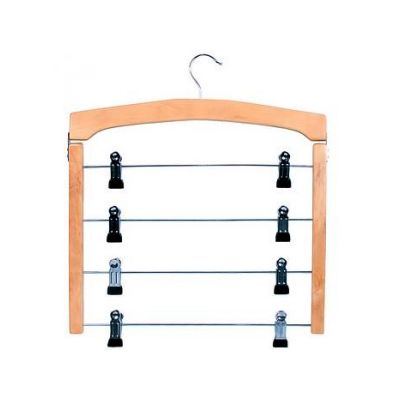 Вешалка для юбок 4 в 1, с прищепками, 38 х 36 см, дерево, метал, ТМ МД