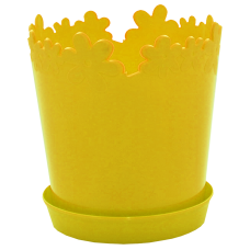 "Вазон ""Лютик"" с подставкой 17*18 см 2 л (тёмно-желтый) Алеана 115001"