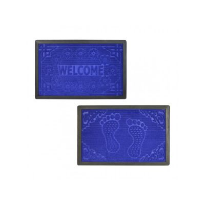 Коврик придверный с кромкой, с узором темно синий, ТМ МД, 45*70