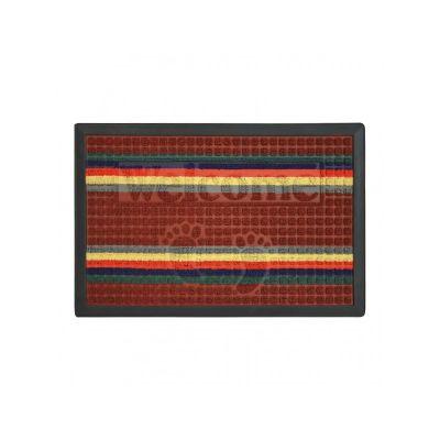 Коврик придверный с узором темно - красный полосатый, полипропилен,ТМ МД,40*60 см