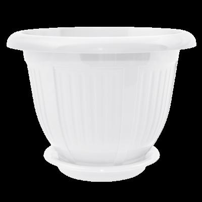 Вазон с подставкой «Волна» 28*22 см 6 л (белый) Алеана 112045