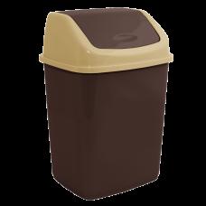 Ведро для мусора 10 л (тёмно-коричневый/кремовый) Алеана 122063
