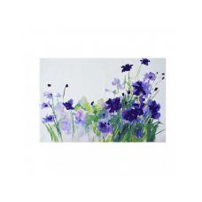 Коврик сервировочный под столовые приборы, 30х45 см, пурпурные цветы, ТМ МД