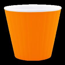 Вазон «Ибис» с двойным дном 15,7*13 см 1,6 л (светло-оранжевый/белый) Алеана 114034