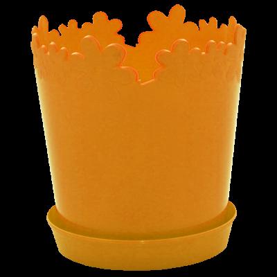 """Вазон """"Лютик"""" с подставкой 13*13,8 см 0,9 л (светло-оранжевый) Алеана 115000"""