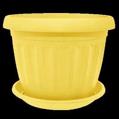 Вазон с подставкой «Терра» 17*13 см 1,6 л (жёлтый) Алеана 112067