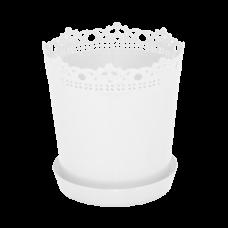 """Вазон """"Ришелье"""" с подставкой-дренажом 13*13,5 см 0,9 л (белый) Алеана 114059"""