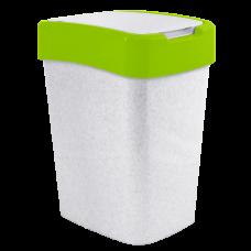 "Ведро для мусора ""Евро"" 18 л (белый флок/оливковый) Алеана 122067"