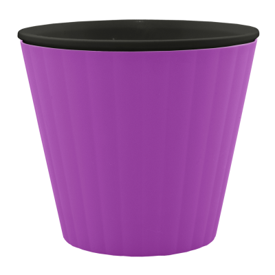 Вазон «Ибис» с двойным дном 13*11,2 см 1 л (тёмно-сиреневый/черный) Алеана 114032