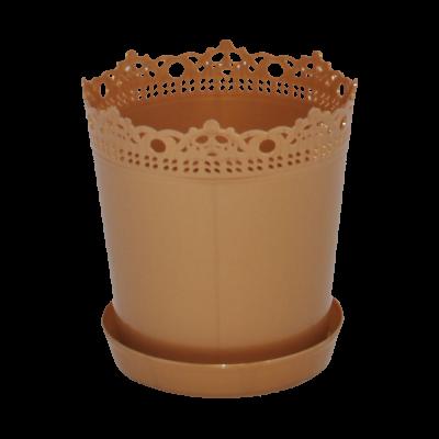 """Вазон """"Ришелье"""" с подставкой-дренажом 13*13,5 см 0,9 л (бронзовый) Алеана 114059"""