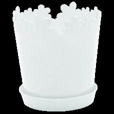 """Вазон """"Лютик"""" с подставкой-дренажом 13*13,8 см 0,9 л (белый) Алеана 114061"""