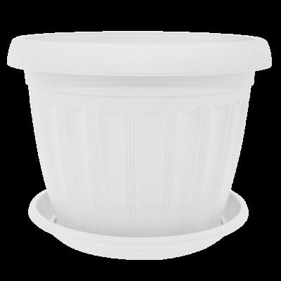 Вазон с подставкой «Терра» 12*9 см 0,55 л (белый) Алеана 112069