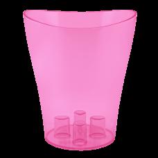 """Вазон для орхидей """"Ника"""" 13*15,5 см 1 л (малиновый прозрачный PS) Алеана 114050"""