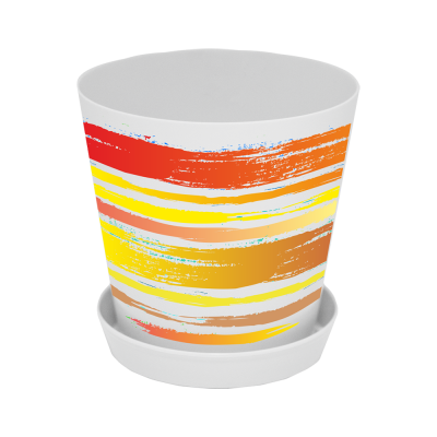 "Вазон ""Деко"" со вставкой 16*15,5 см 1,8 л (Краски, оранжевый) Алеана 114047"