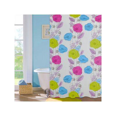 """Шторка для ванной комнаты """"Colorful flowers"""", 180*180 cм ТМ """"МД"""" PEVA"""
