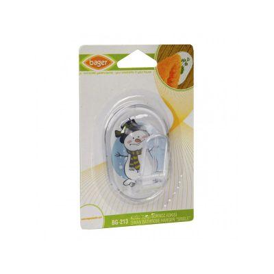 Крючок SWAN для ванной комнаты с рисунком пластиковый, одинарный, детский овальныйTM Bager