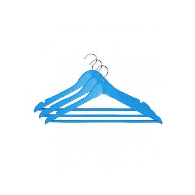 Вешалка одежная, ТМ МД, с нарезами, 44,5 х 23,0 х 1,2 см (3 шт.), голубые